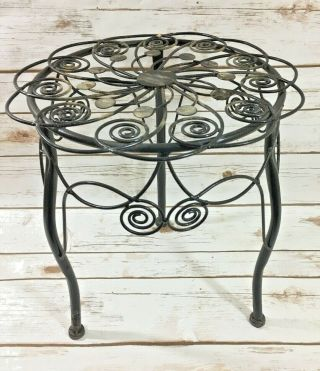 Vintage Wrought Iron Floor Standing Plant Stand Black