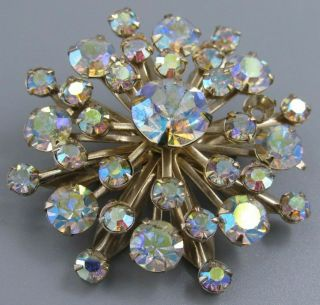 High End Vintage Jewelry Stacked Ab Crystal Snowflake Brooch Pin Rhinestone O