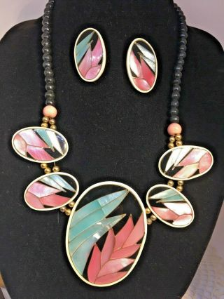 Gorgeous Vintage Abalone Inlay Tropical Leaf Necklace & Earring Set