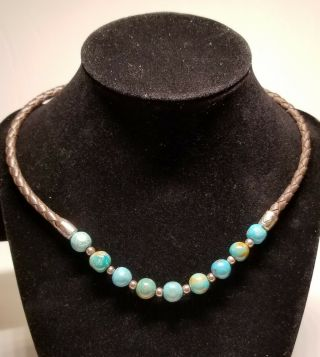 Vintage Sterling Silver Leather Braided Necklace Turquoise Beads Rope.  925