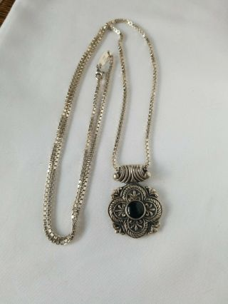 "Vtg Paolo Romero Sterling Silver 28 "" Box Chain & 925 Silver Onyx Pendant - Italy"