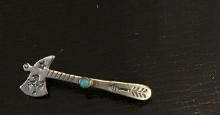 Vintage Navajo Bell Trading Post Sterling Fred Harvey Era Turquoise Tomahawk Pin