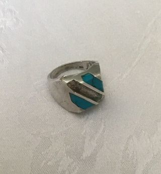 Men's Vintage Sterling & Turquoise Heavy Ring Sz 10.  (18.  61g)