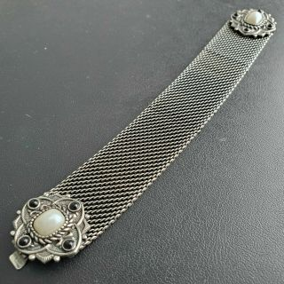 Victorian Inspired Vintage Silver Tn Mesh Chain Bracelet Pearl Onyx Flower L170