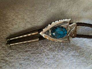 Vtg Men Bolo Tie Turquoise Arrow Head Old Western Country Leather&silver Tips