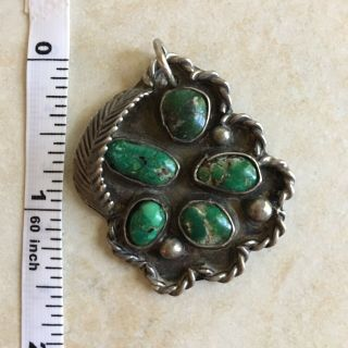 Vintage Turquoise Silver Pendant Multi Green Stone Old Pawn Necklace Jewelry