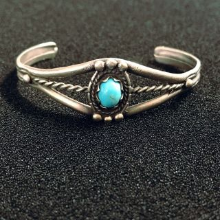 Vintage Old Pawn Sterling Turquoise Bracelet Estate Silver Stone Jewelry