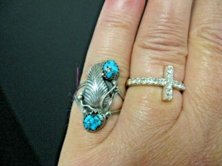Vintage Old Pawn Turquoise Sterling Silver Pinky Ring 2 Stone Feather Size 6.  5