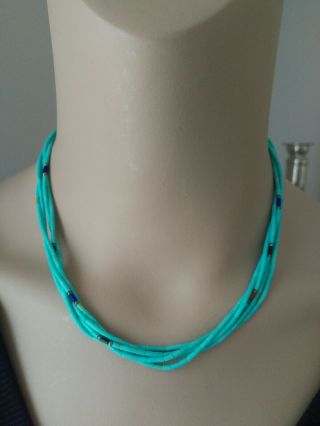 Vintage Turquoise Bead 5 Strand Necklace Sterling Silver