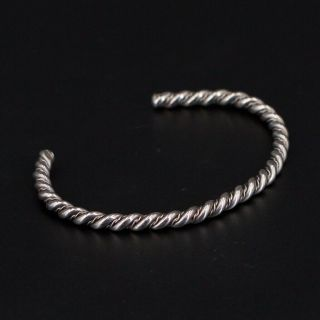 "Vtg Sterling Silver - Navajo Braided Twisted Rope 6.  25 "" Cuff Bracelet - 12g"