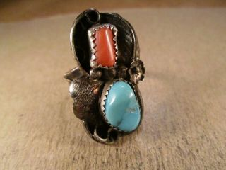 Vintage Sterling Silver & Turquoise/coral Ring,  Unsigned,  Size 9.  5,  7.  2g