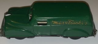 Vintage Meier And Frank Delivery Truck Van Tin Friction Japan Advertising Toy