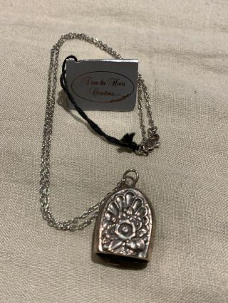"Vintage Sterling Silver Bell Pendant Charm On 22"" Sterling Necklace"