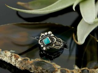 Vtg Sterling Silver Fred Harvey Era Navajo Stamped Turquoise Midi Ring 2