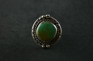 Vintage Sterling Silver Green Stone Dome Ring - 7g