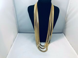 Vtg.  Unmarked Monet Textured Silky Gold Tone 3 - Chain Necklace
