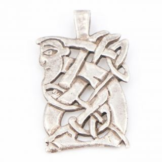 Vtg Sterling Silver - Intertwined Abstract Face Man Pendant - 5g