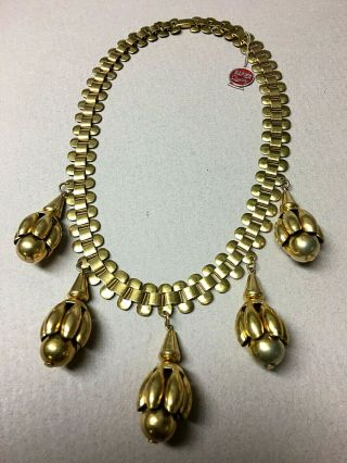 Vintage Napier Chunky Gold Toned Necklace W/original Red Foil Hang Tag