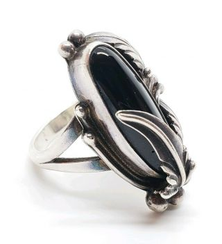 Vintage Signed Nakai Sterling Silver Black Onyx Feathered Native American Ring