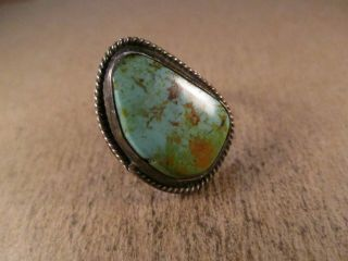 Vintage Sterling Silver & Turquoise Ring,  Unsigned,  Size 4.  5,  5.  3g