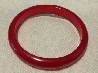 "Cherry Red Bakelite Bangle Bracelet - Semi Transluc - - 3/8 "" Wide - - 1/4 "" Thick - Vintage"