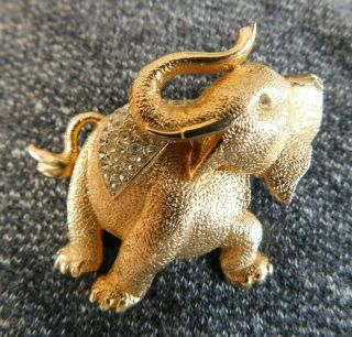 "Signed Marvella Clear Rhinestone,  Gold Elephant Brooch Pin 1 3/4 "" Vintage"