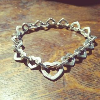 Vintage Sterling Silver Heart Link Italy Heavy Bracelet Interlocking Hearts 925