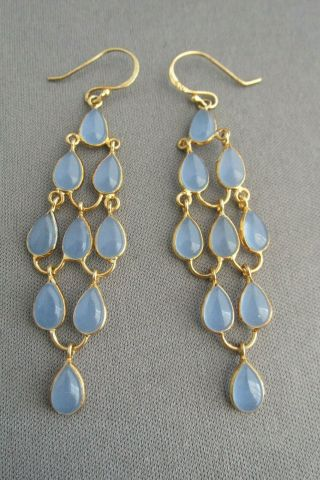 Vintage Gold Wash Sterling Cabochon Tear Drop Glass Chandelier Pierced Earrings