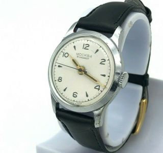 Moskva Vintage Watch Ww2 Military Style White Dial Men