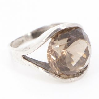 Vtg Sterling Silver - Faceted Smoky Quartz Statement Ring Size 6.  5 - 7.  5g