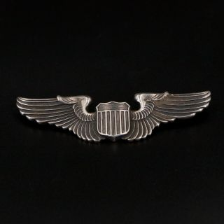 Vtg Sterling Silver - Wwii Pilot Command Wings Shield Brooch Pin - 17g
