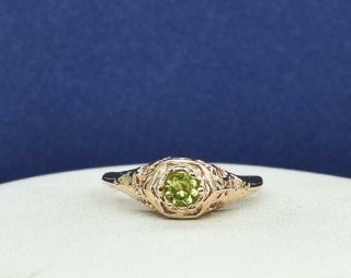 Lovely Vintage.  17ctw Peridot 14k Rose Gold/sterling Filigree Ring