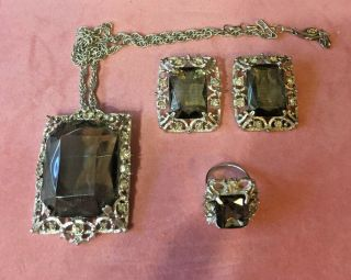 Vintage Sarah Coventrry Set Earrings,  Brooch Neclace,  And Ring Smoky Topaz