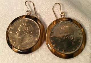 Vintage 14k Milor Italy Repvbblica Italiana L20 Coin Tigers Eye Dangle Earrings