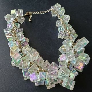 Vintage Style Statement Chunky Ab Cube Faux Crystal Lucite Cluster Necklace W195