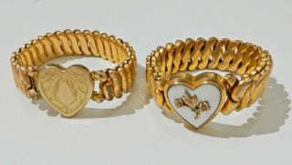 2 Vintage Gold Filled Sweetheart Bracelets H689