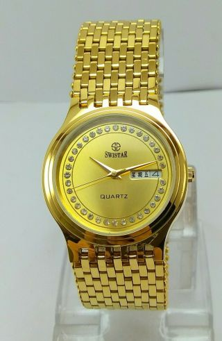 Vintage Swistar Quartz Day/date Gold Plated Men