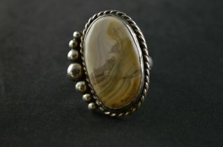 Vintage Sterling Silver Beaded Tan Stone Oval Massive Ring - 19g
