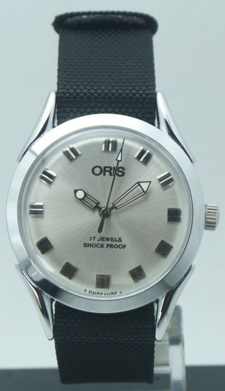 Vintage Oris Silver Dial 17 Jewels Fhf St - 96 Hand Winding Luxury Watch Nato Band