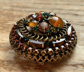 Vintage Weiss Rhinestone & Art Glass Dome Brooch Gorgeous