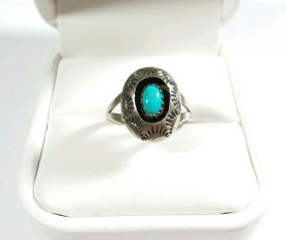 Vintage Navajo S Dickens Sterling Etched Shadowbox Turquoise Size 5.  5 Ring