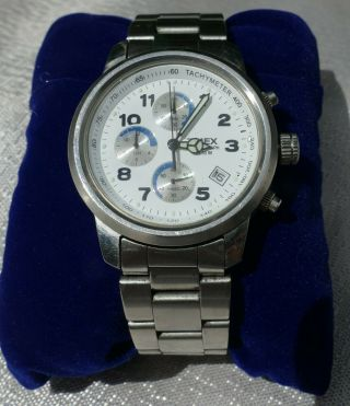 Timex Vintage Chronograph Mens White Face Luminous Hands Timex Band Vg