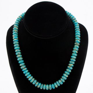 "Vtg Silver Plated - 10mm Turquoise Stone Bead Strand 18.  5 "" Necklace - 61g"