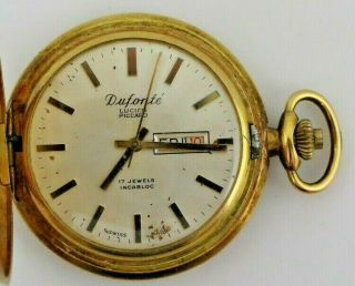 Vintage Dufonte Lucien Piccard Pocket Watch 17 Jewels Incabloc 8s Day Date