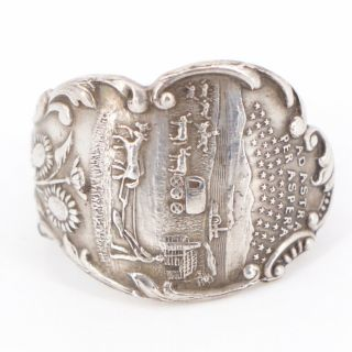 Vtg Sterling Silver - Kansas State Seal Spoon Handle Ring Size 9.  5 - 12g