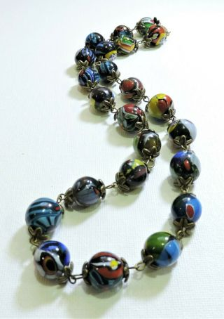 Vintage Multi Color Millefiori Lampwork Art Glass Bead Necklace Au19200