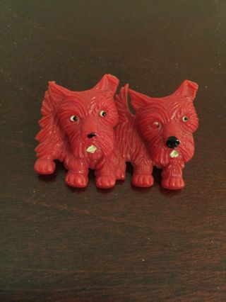 Vintage Bakelite Brooch Pin Scottie Dogs W/ Moveable Heads.