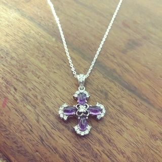 Vintage Joe Esposito Espo Marked Amethyst Maltese Cross Pendant Necklace.  925