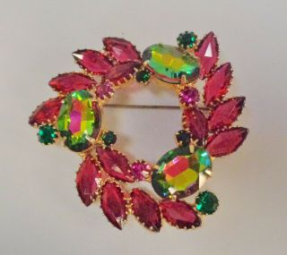 Vintage Juliana? Watermelon Burgundy & Green Rhinestone Gold Brooch 1