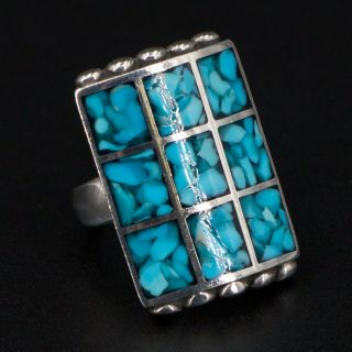 Vtg Sterling Silver - Navajo Crushed Turquoise Inlay Statement Ring Size 8 - 16g